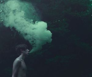 smoke, boy, and green image