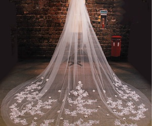 veil, wedding, and white image