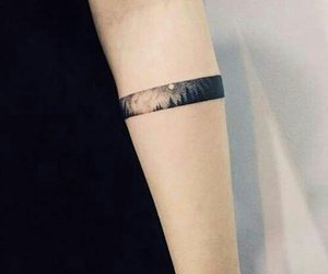 tattoo, arm, and moon image