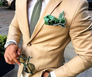 chic, green, and pocket square image