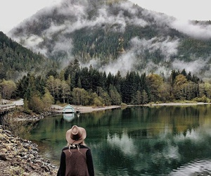 nature, girl, and mountains image