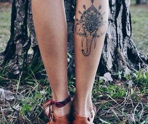 tattoo, elephant, and leg image