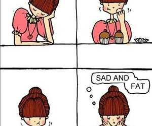 sad, fat, and food image