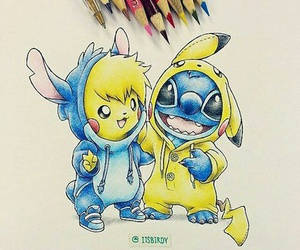 pikachu, stitch, and drawing image