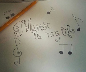 art, notes, and music image