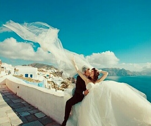 kiss, santorini, and wedding image