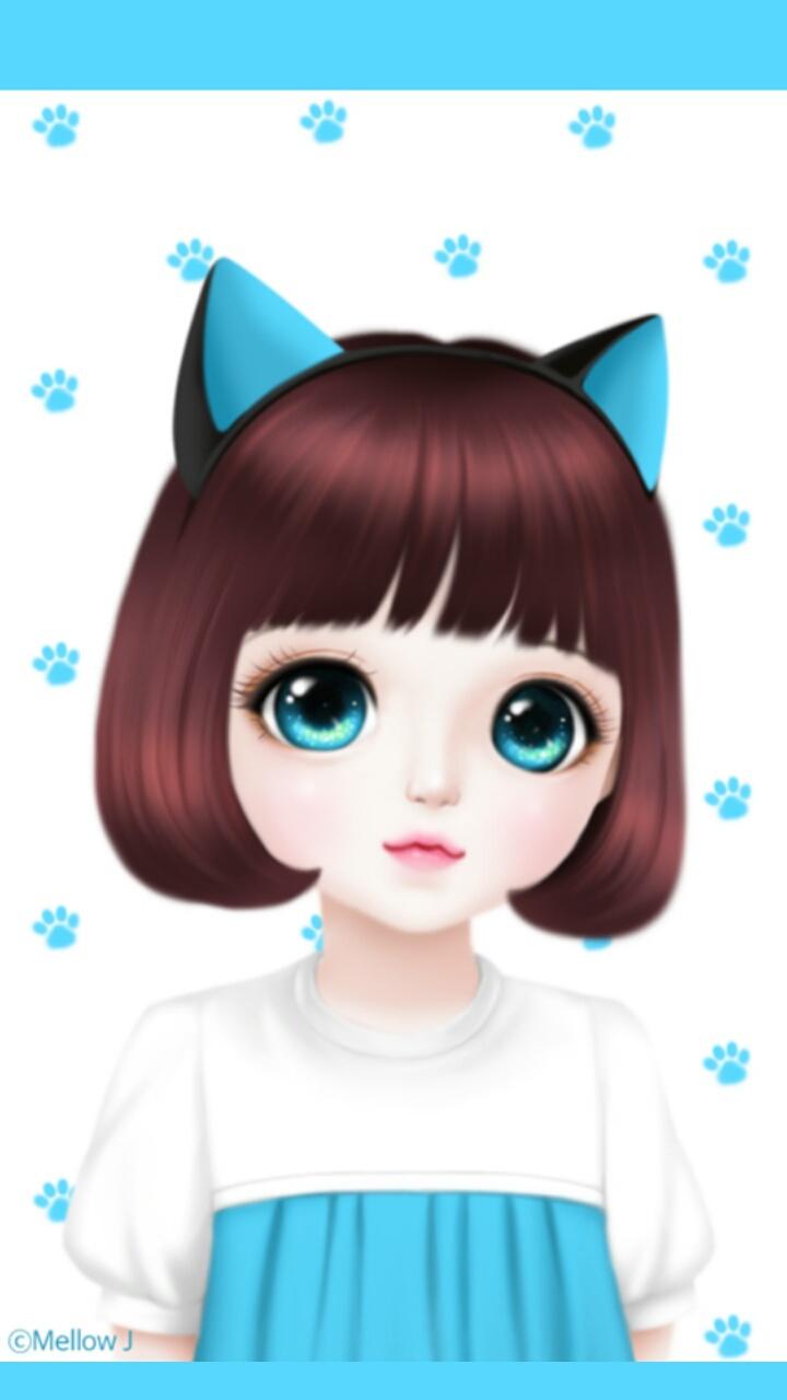 Anime Art Art Girl Background Beautiful Girl Beauty Blue Cat