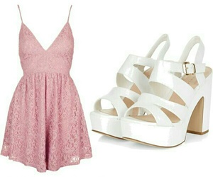 pink dress, white high heels, and outfit sets image