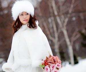 dress, snow, and wedding image