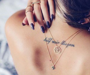 tattoo, nails, and necklace image