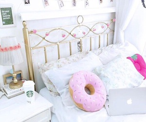 room, bed, and donuts image