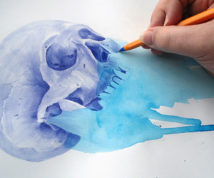skull, art, and blue image