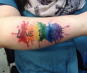 tattoo, love, and rainbow image