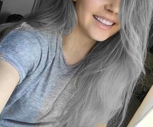 girl, hair, and grey image