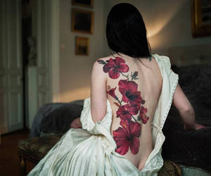 tattoo, flowers, and dress image