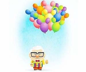 up, disney, and balloons image