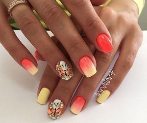 nails, butterfly, and orange image
