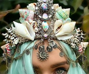 mermaid, crown, and shell image