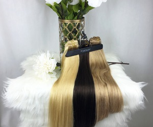 butterscotch, hair extensions, and long hair image