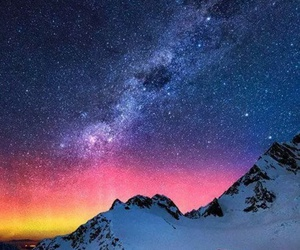 stars, mountains, and snow image