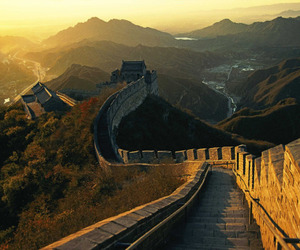 great wall and sunset image