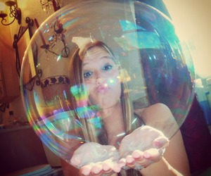 girl, blonde, and bubble image