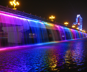 water, light, and rainbow image