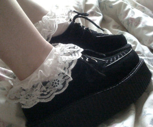 shoes, black, and lace image