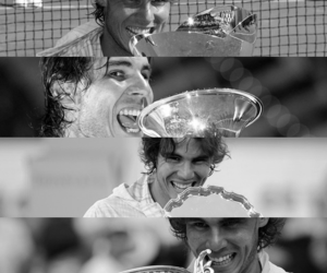 black and white and Rafael Nadal image