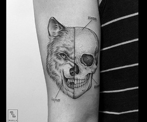 Tattoos, wolf, and instagram image
