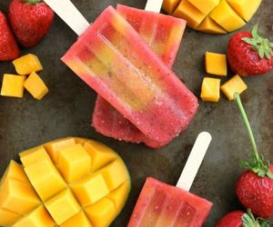 food, mango, and strawberry image