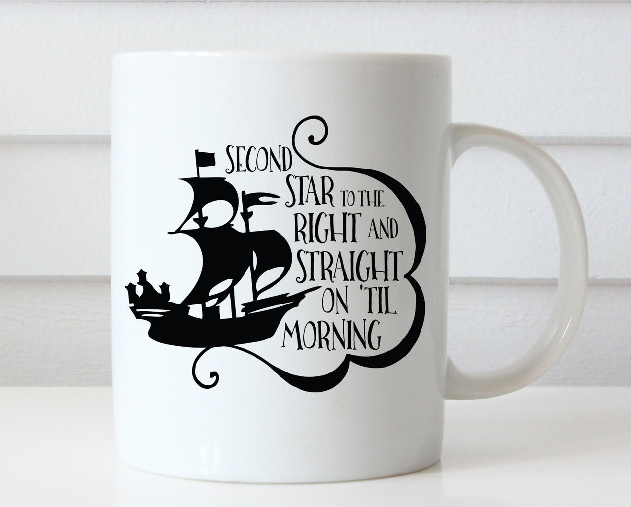 Disney Coffee Mug Peter Pan Mug Peter Pan Quote Disney Quote Disney Coffee Cup Disney Mug Neverland Second Star To The Right