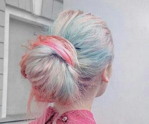 messy bun, pastel hair, and big hair bun image