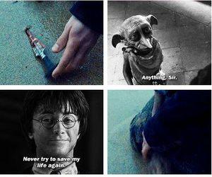 dobby, harry potter, and sad image