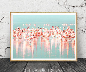 pink and blue, etsy, and large poster art image