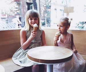 girls, ice cream, and little image