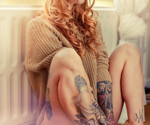 blonde, tattoo, and cool image