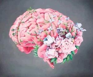 brain, art, and flowers image