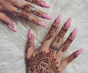 nails, henna, and pink image