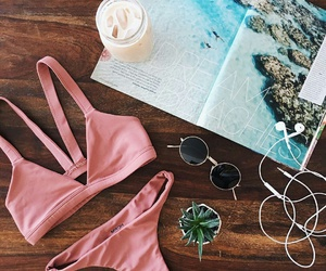 iced coffee, mason jars, and pink bathing suit image