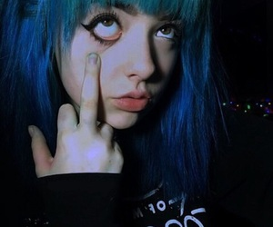 blue, dyed hair, and grunge image