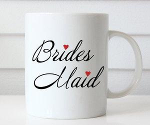 bride, bridesmaid, and coffee mugs image