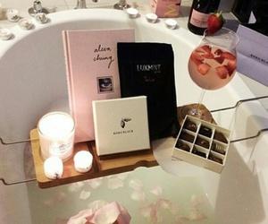bath, candle, and chocolate image