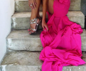 dress, pink, and blonde image