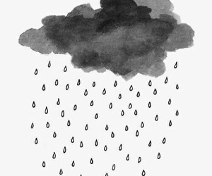 rain, clouds, and black and white image
