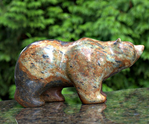 bear sculpture, stone figurine, and bear carving image