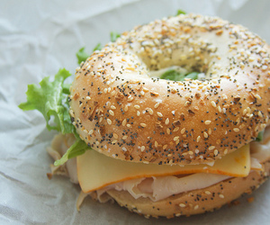 food, bagel, and cheese image