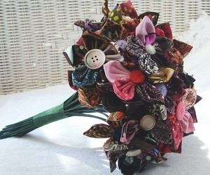 button flowers and homemade bouquet image