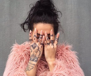 pink, tattoo, and henna image