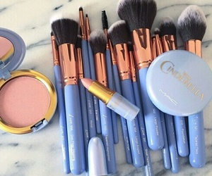 makeup, Brushes, and blue image